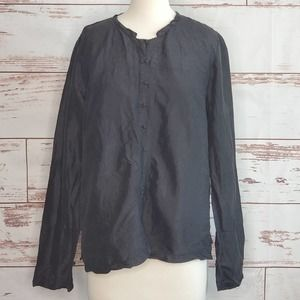 50/% OFF SPRING SALE Vintage Eileen Fisher Green Irish Linen Solid Button Down Collared Minimalist Long Sleeve Shirt Top Blouse Xl Plus Size